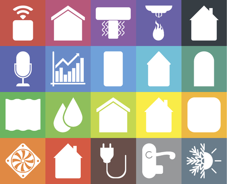 Set Of 20 icons such as Heating, Handle, Plug, Home, Cooler, Meter, Smart home, Deep, Chart, Socket, Door, Air conditioner, web UI editable icon pack, pixel perfect