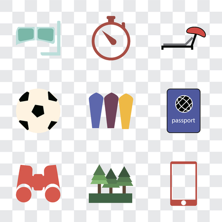Set Of 9 simple transparency icons such as Phone, Forest, Binoculars, Passport, Surfing, Ball, Sunbed, Time, Snorkel, can be used for mobile, pixel perfect vector icon pack on transparent background Illustration