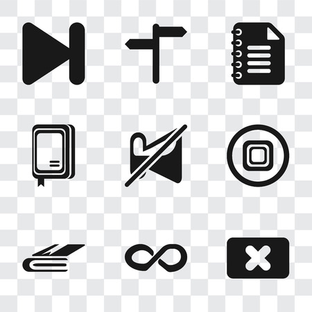 Set Of 9 simple transparency icons such as Close, Infinity, Notebook, Stop, Muted, Notepad, Next, can be used for mobile, pixel perfect vector icon pack on transparent background