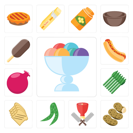 Set Of 13 simple editable icons such as Ice cream, Potatoes, Butcher, Peas, Toast, Asparagus, Pomegranate, Hot dog, web ui icon pack Stock Illustratie