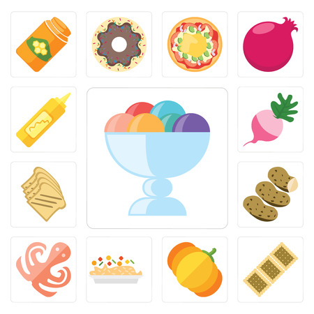 Set Of 13 simple editable icons such as Ice cream, Biscuit, Pumpkin, Risotto, Octopus, Potatoes, Toast, Radish, Mustard, web ui icon pack