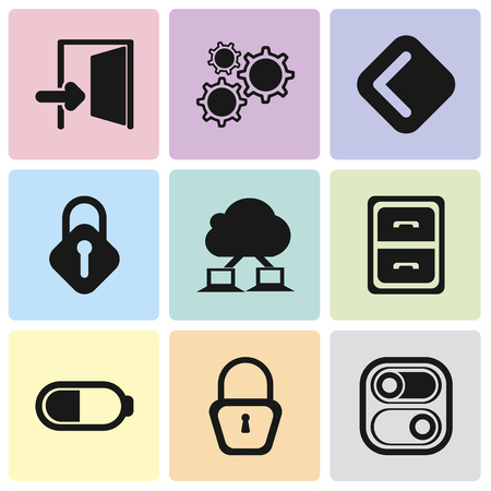 Set Of 9 simple editable icons such as Switch, Locked, Battery, Archive, Cloud computing, Lock, Back, Settings, Exit, can be used for mobile, pixel perfect vector icon pack