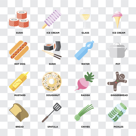 Set Of 16 icons such as Pickles, Chives, Spatula, Bread, Gingerbread, Sushi, Hot dog, Mustard, Water on transparent background, pixel perfect