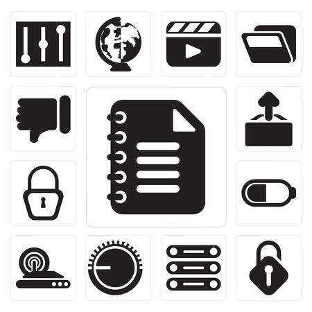 Set Of 13 simple editable icons such as Notepad, Unlocked, Database, Volume control, Wireless internet, Battery, Locked, Upload, Dislike, web ui icon pack Ilustração