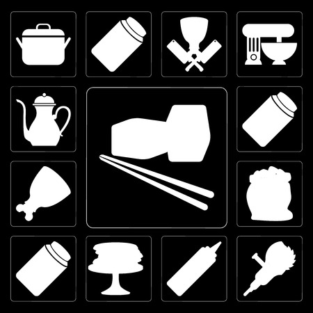Set Of 13 simple editable icons such as Sushi, Grinder, Mustard, Pancakes, Jam, Flour, Ham, Pickles, Teapot on black background