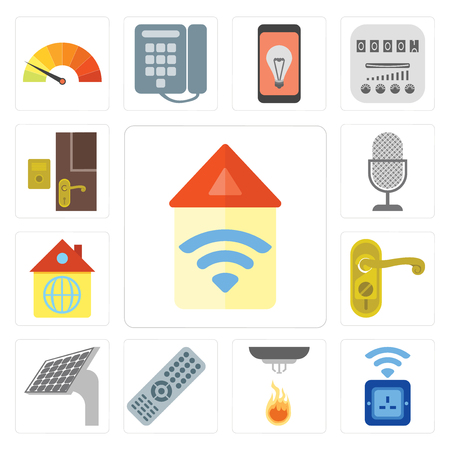Set Of 13 simple editable icons such as Automation, Socket, Sensor, Remote, Panel, Doorknob, Home, Voice control, Doorbell, web ui icon pack
