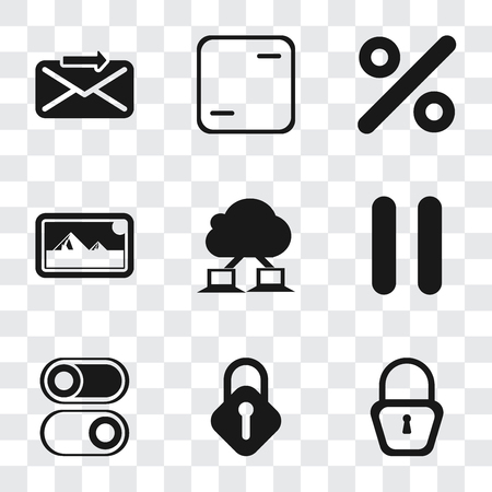 Set Of 9 simple transparency icons such as Locked, Lock, Switch, Pause, Cloud computing, Photos, Percent, Frame, Send, can be used for mobile, pixel perfect vector icon pack on transparent background