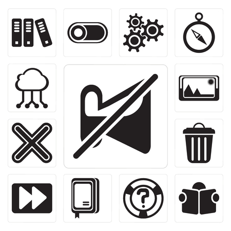 Set Of 13 simple editable icons such as Muted, Reading, Help, Notebook, Fast forward, Garbage, Multiply, Picture, Cloud computing, web ui icon pack