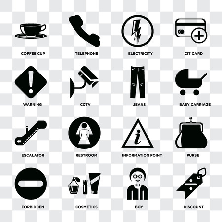 Set Of 16 icons such as Discount, Boy, Cosmetics, Forbidden, Purse, Coffee cup, Warning, Escalator, Jeans on transparent background, pixel perfect