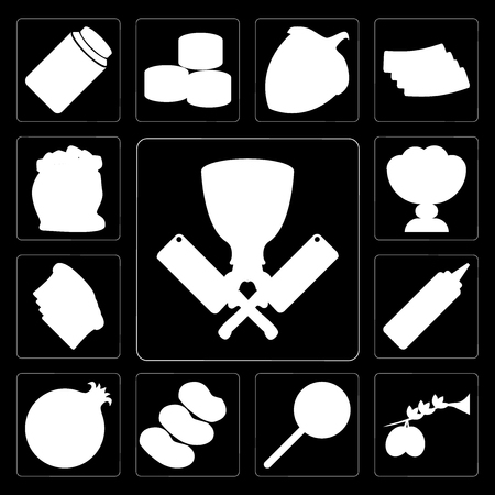 Set Of 13 simple editable icons such as Butcher, Olives, Jawbreaker, Potatoes, Pomegranate, Mustard, Toast, Ice cream, Flour on black background