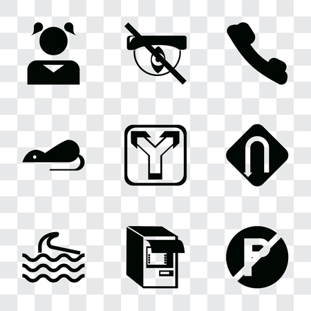 Set Of 9 simple transparency icons such as No parking, Atm, Wave, Turn, Junction, Rats, Telephone, Hidden, Girl, can be used for mobile, pixel perfect vector icon pack on transparent background Ilustrace