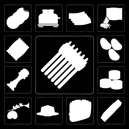 Set Of 13 simple editable icons such as Asparagus, Butter, Taco, Jelly, Olives, Sushi, Pepper, Potatoes, Chips on black background Archivio Fotografico - 111925280