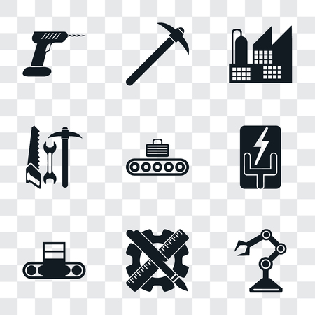 Set Of 9 simple transparency icons such as Robot arm, Planning, Conveyor, Electricity, Tools, Factory, Pick, Drill, can be used for mobile, pixel perfect vector icon pack on transparent