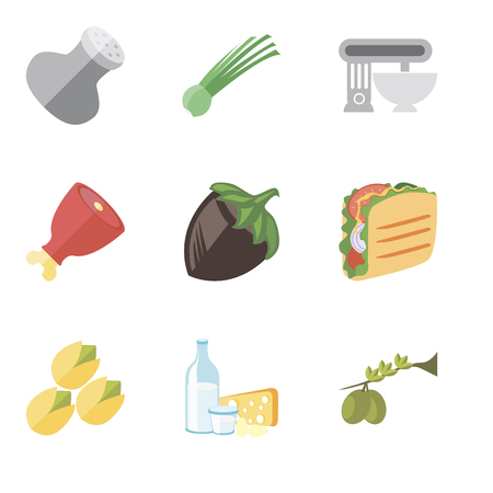 Set Of 9 simple editable icons such as Olives, Dairy, Pistachio, Taco, Hazelnut, Ham, Mixer, Chives, Salt, can be used for mobile, pixel perfect vector icon pack Ilustração