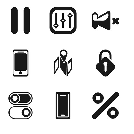 Set Of 9 simple editable icons such as Percent, Smartphone, Switch, Unlocked, Map, Mute, Controls, Pause, can be used for mobile, pixel perfect vector icon pack