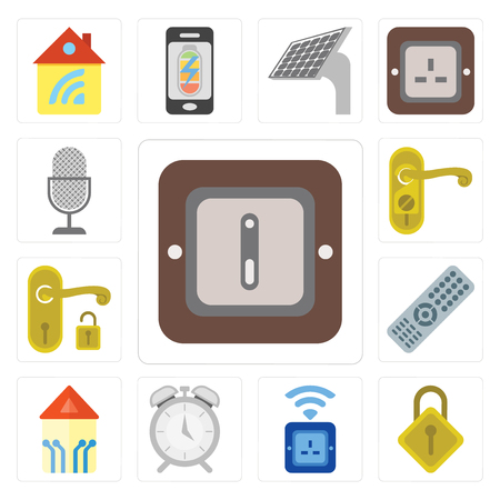 Set Of 13 simple editable icons such as Switch, Locking, Socket, Alarm, Smart home, Remote, Handle, Doorknob, Voice control, web ui icon pack Ilustrace