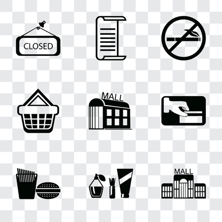 Set Of 9 simple transparency icons such as Mall, Cosmetics, Fast food, Card payment, Shopping basket, No smoking, List, Closed, can be used for mobile, pixel perfect vector icon pack on