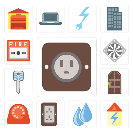 Set Of 13 simple editable icons such as Plug, Home, Water, Dial, Door, Smart key, Cooler, Fire alarm, web ui icon pack