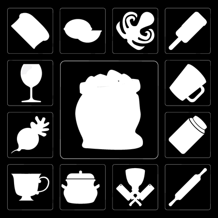 Set Of 13 simple editable icons such as Flour, Rolling pin, Butcher, Pot, Tea, Honey, Radish, Mug, Glass on black background Çizim