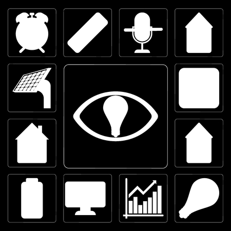 Set Of 13 simple editable icons such as Smart, Light, Chart, Dashboard, Battery, Smart home, Home, Switch, Panel on black background