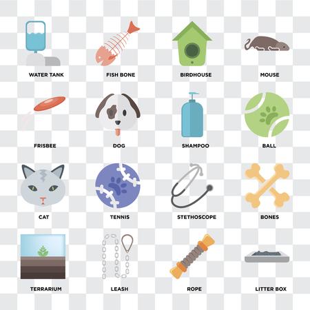 Set Of 16 icons such as Litter box, Rope, Leash, Terrarium, Bones, Water tank, Frisbee, Cat, Shampoo on transparent background, pixel perfect Иллюстрация