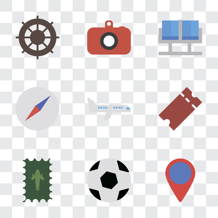 Set Of 9 simple transparency icons such as Location, Ball, Postage, Tickets, Airplane, Compass, Waiting room, Camera, Helm, can be used for mobile, pixel perfect vector icon pack on transparent