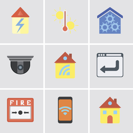 Set Of 9 simple editable icons such as Home, Mobile, Fire alarm, Browser, Security camera, Smart home, Temperature, can be used for mobile, pixel perfect vector icon pack Illustration