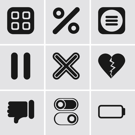 Set Of 9 simple editable icons such as Battery, Switch, Dislike, Multiply, Pause, Menu, Percent, can be used for mobile, pixel perfect vector icon pack