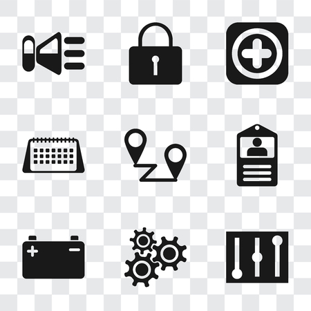 Set Of 9 simple transparency icons such as Controls, Settings, Battery, Id card, Placeholders, Calendar, Add, Locked, Speaker, can be used for mobile, pixel perfect vector icon pack on transparent