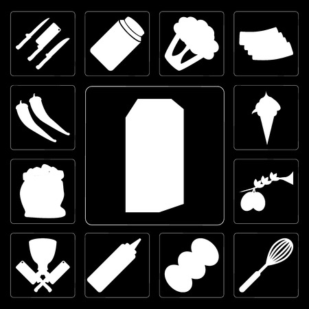 Set Of 13 simple editable icons such as Milk, Whisk, Coffee, Mustard, Butcher, Olives, Flour, Ice cream, Pepper on black background Stock Illustratie