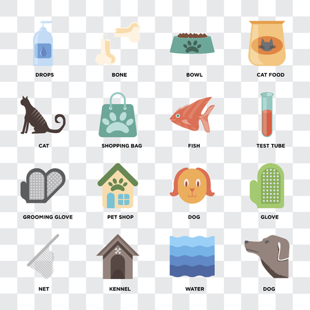Set Of 16 icons such as Dog, Water, Kennel, Net, Glove, Drops, Cat, Grooming glove, Fish on transparent background, pixel perfect
