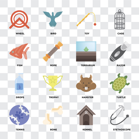 Set Of 16 icons such as Stethoscope, Kennel, Bone, Tennis, Turtle, Wheel, Fish, Drops, Terrarium on transparent background, pixel perfect Standard-Bild - 111925305