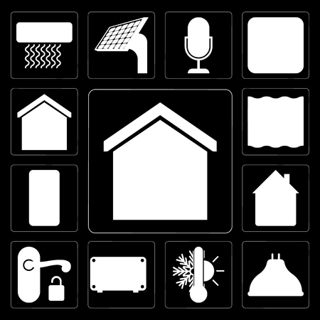 Set Of 13 simple editable icons such as Smart home, Lightbulb, Thermostat, Air conditioner, Handle, Home, Mobile phone, Deep, home on black background