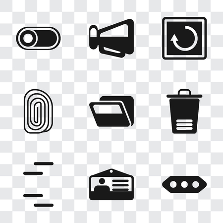 Set Of 9 simple transparency icons such as More, Id card, Trash, Folder, Fingerprint, Restart, Megaphone, Switch, can be used for mobile, pixel perfect vector icon pack on transparent background