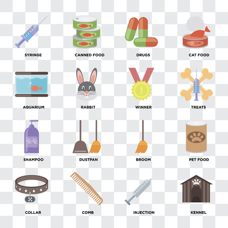 Set Of 16 icons such as Kennel, Injection, Comb, Collar, Pet food, Syringe, Aquarium, Shampoo, Winner on transparent background, pixel perfect Foto de archivo - 111925310