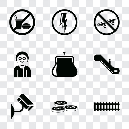 Set Of 9 simple transparency icons such as Train, Coins, Cctv, Escalator, Purse, Boy, Skateboard, Electricity, No food, can be used for mobile, pixel perfect vector icon pack on transparent