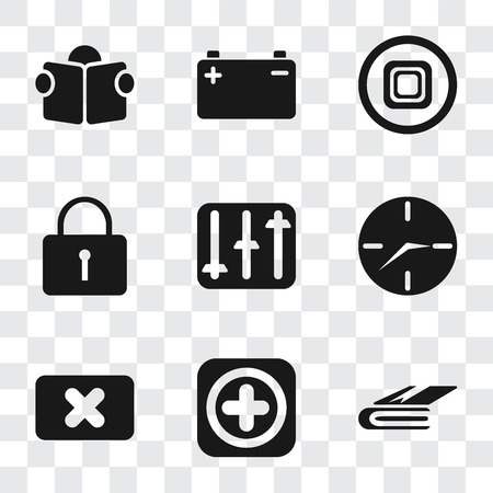 Set Of 9 simple transparency icons such as Notebook, Add, Close, Clock, Controls, Locked, Stop, Battery, Reading, can be used for mobile, pixel perfect vector icon pack on transparent background