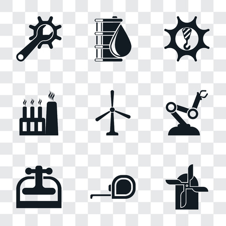 Set Of 9 simple transparency icons such as Mill, Measuring tape, Machine press, Robot arm, Windmill, Factory, Machinery, Oil, Maintenance, can be used for mobile, pixel perfect vector icon pack on Иллюстрация