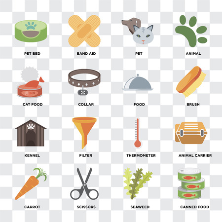 Set Of 16 icons such as Canned food, Seaweed, Scissors, Carrot, Animal carrier, Pet bed, Cat Kennel, Food on transparent background, pixel perfect Vettoriali