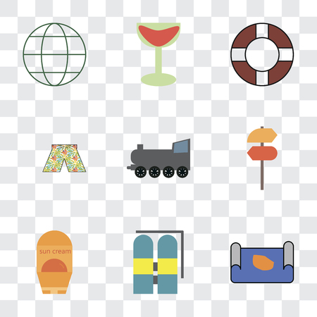 Set Of 9 simple transparency icons such as Map, Aqualung, Sun protection, Pointer, Railway, Swimsuit, Lifebuoy, Cocktail, Globe, can be used for mobile, pixel perfect vector icon pack on transparent