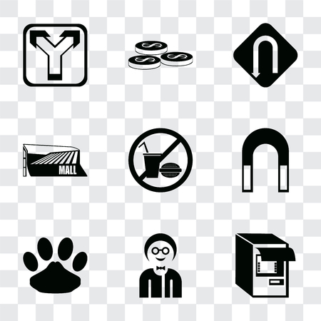 Set Of 9 simple transparency icons such as Atm, Boy, Pet, Magnet, No food, Mall, Turn, Coins, Junction, can be used for mobile, pixel perfect vector icon pack on transparent background