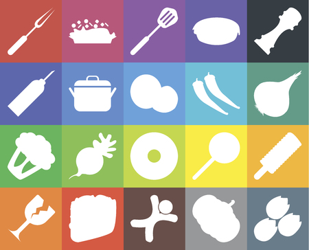 Set Of 20 icons such as Pistachio, Pumpkin, Gingerbread, Taco, Glass, Pepper, Ice cream, Doughnut, Cauliflower, Pot, Fork, Onion, Spatula, web UI editable icon pack, pixel perfect Çizim