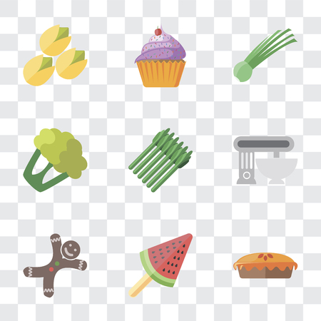 Set Of 9 simple transparency icons such as Pie, Ice cream, Gingerbread, Mixer, Asparagus, Cauliflower, Chives, Cupcake, Pistachio, can be used for mobile, pixel perfect vector icon pack on