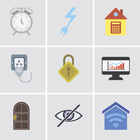 Set Of 9 simple editable icons such as Smart home, Blind, Door, Dashboard, Locking, Plug, Home, Power, Alarm, can be used for mobile, pixel perfect vector icon pack 向量圖像