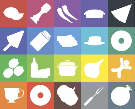 Set Of 20 icons such as Pomegranate, Fork, Pumpkin, Doughnut, Tea, Pizza, Gingerbread, Pot, Pistachio, Honey, Pancakes, Lime, Pepper, web UI editable icon pack, pixel perfect Ilustrace
