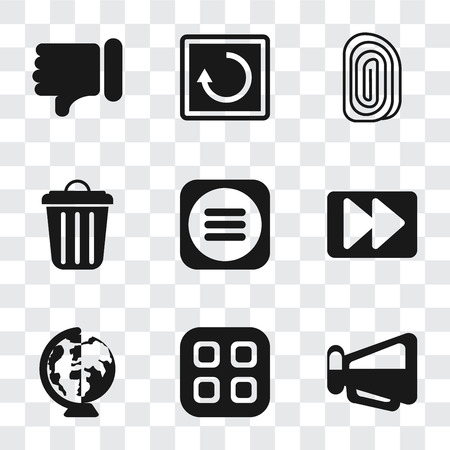 Set Of 9 simple transparency icons such as Megaphone, Menu, Worldwide, Fast forward, Garbage, Fingerprint, Restart, Dislike, can be used for mobile, pixel perfect vector icon pack on