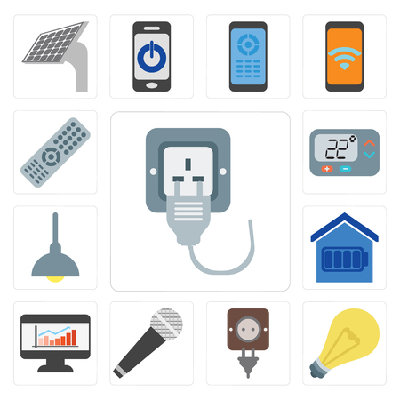 Set Of 13 simple editable icons such as Plug, Light, Microphone, Dashboard, Smart home, Lighting, Thermostat, Remote, web ui icon pack Stock Vector - 111925329