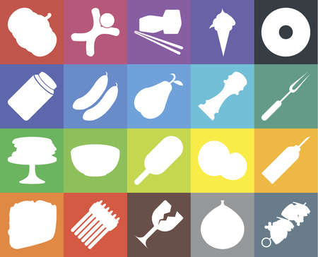 Set Of 20 icons such as Kebab, Fig, Glass, Asparagus, Taco, Doughnut, Oil, Ice cream, Pancakes, Cucumber, Pepper, Pumpkin, Fork, Sushi, web UI editable icon pack, pixel perfect