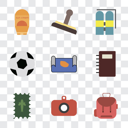Set Of 9 simple transparency icons such as Backpack, Camera, Postage, Notebook, Map, Ball, Aqualung, Stamp, Sun protection, can be used for mobile, pixel perfect vector icon pack on transparent
