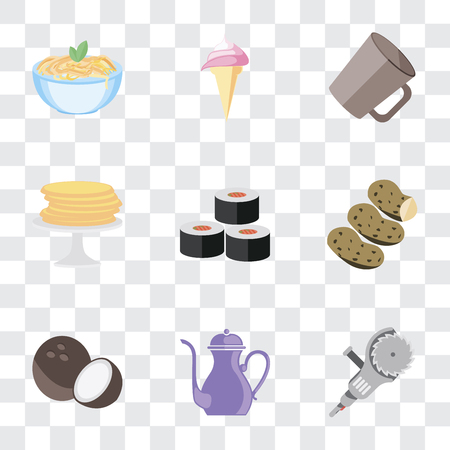 Set Of 9 simple transparency icons such as Grinder, Teapot, Coconut, Potatoes, Sushi, Pancakes, Mug, Ice cream, Pasta, can be used for mobile, pixel perfect vector icon pack on transparent background Çizim